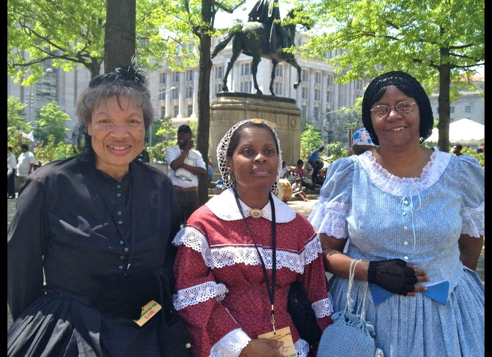 From left to right, Distinction re-enactors Pat Tyson, Christine Bennet and Joyce Bailey turned out for Monday's parade.