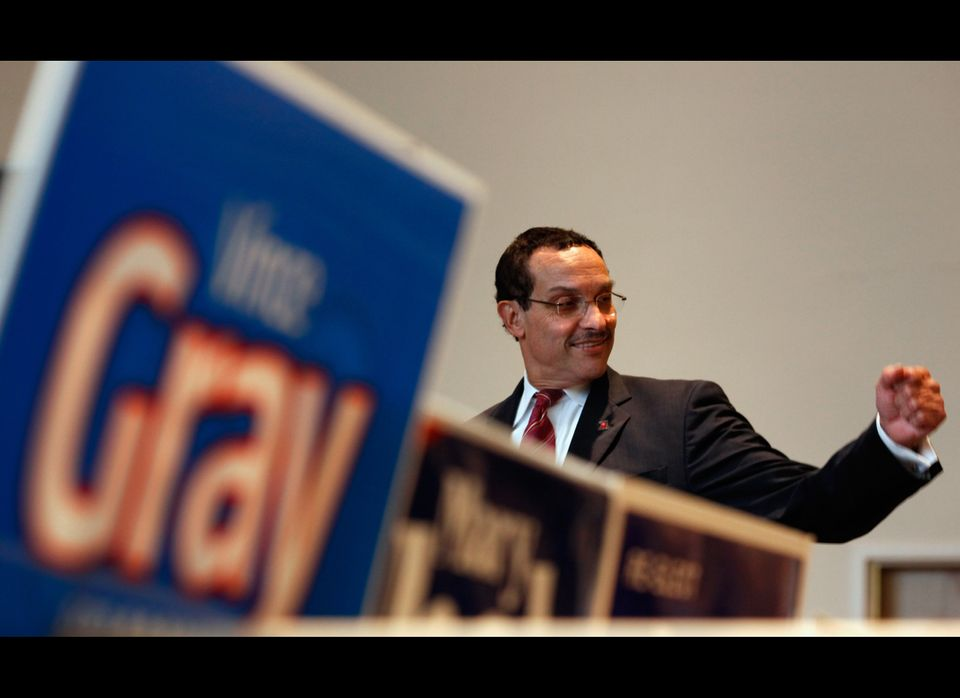 Presumptive mayor-elect Vince Gray rallys fellow Democrats during a 'get out the vote' campaign event at the First Trinity Lu