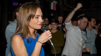 NEW YORK, NY - SEPTEMBER 13: Democratic Socialist candidate Julia Salazar delivers her victory speech after defeating incumbent Democrat State Senator Marty Dilan on September 13, 2018 in New York City. The controversial candidate overcame questions about her personal history to defeat Dilan, who was running for his ninth term in office. (Photo by Scott Heins/Getty Images)
