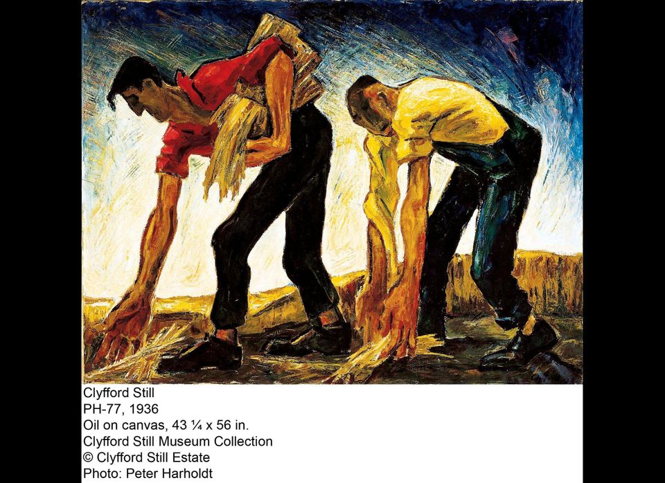 """A figurative work painted in 1936 that portrays field workers with oversized hands and arms--a feature common to Still's wor"