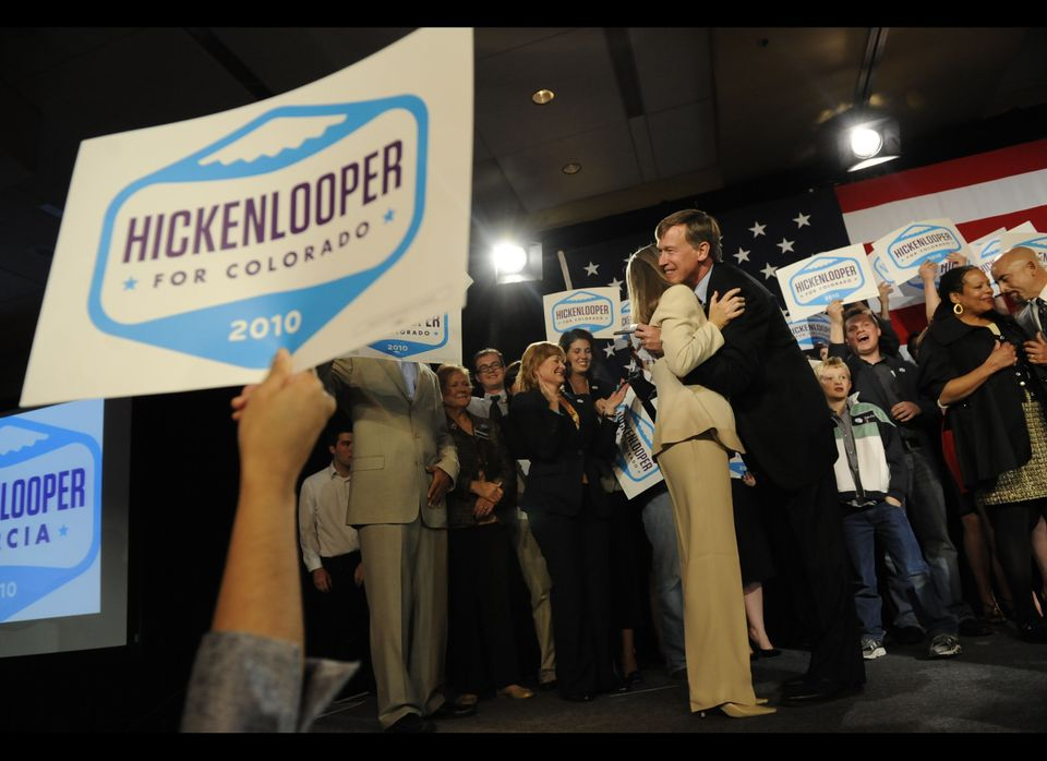 DENVER - NOVEMBER 2:  Governor-elect John Hickenlooper embraces his wife Helen Thorpe as he takes the stage at the Marriortt