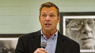 Republican gubernatorial candidate Kris Kobach meets with supporters at the Lyon County senior center and talks about the upcoming election, Emporia, Kansas, October 28, 2018. (Photo by Mark Reinstein/Corbis via Getty Images)