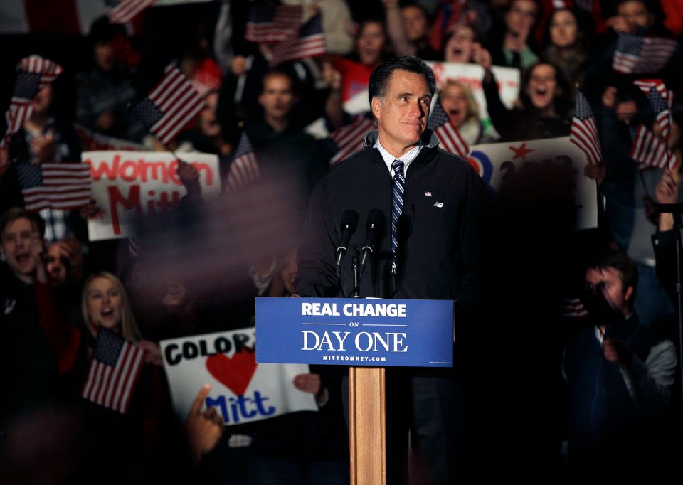 Republican presidential candidate, former Massachusetts Gov. Mitt Romney, pauses during a speech at a campaign rally in Green