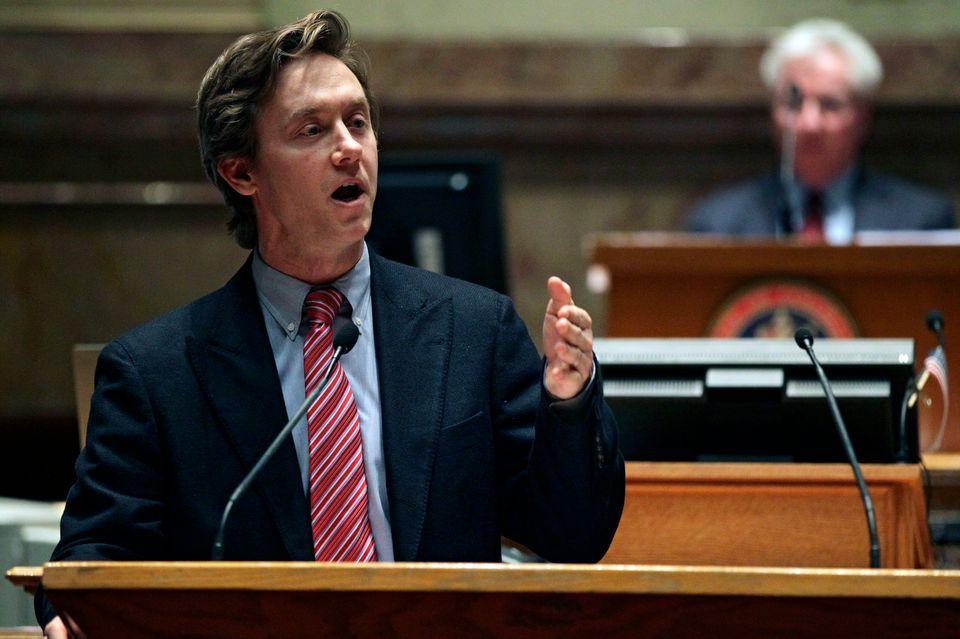 Colorado State Senator Mike Johnston, D-Denver, argues in favor of one of several gun control bills before the Colorado Legis