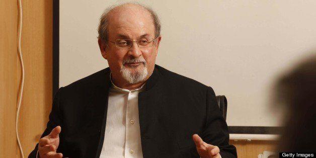 NEW DELHI, INDIA - JANUARY 22: Writer Salman Rushdie interacting with  Senior editors of Hindustan Times during a meeting at