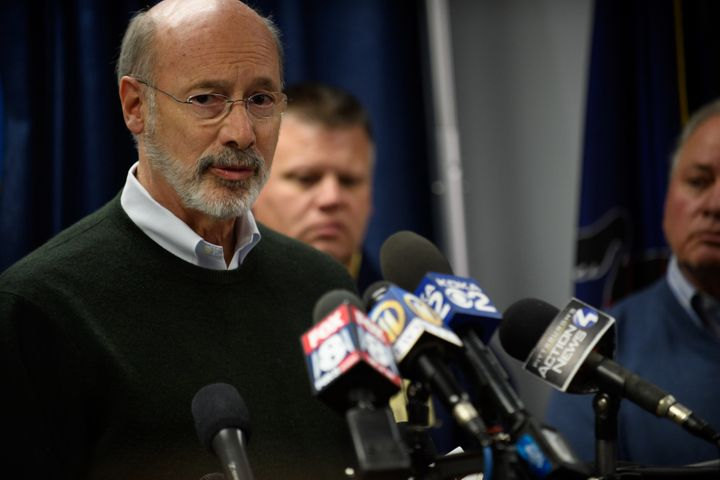 Pennsylvania Gov. Tom Wolf (D) speaks to reporters after the mass shooting at a Pittsburgh synagogue on Oct. 27.