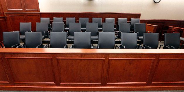 A view of the jury box inside Courtroom 201 on Thursday, Jan. 15, 2015, where jury selection in the trial of Aurora movie the