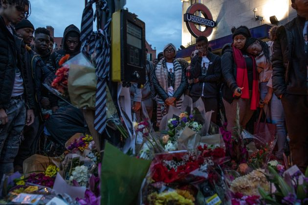 Tributes were left outside the