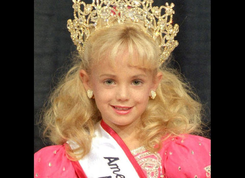 JonBenet Patricia Ramsey winning a beauty pageant at 1996 America's Royale Little Miss National Beauty contests.