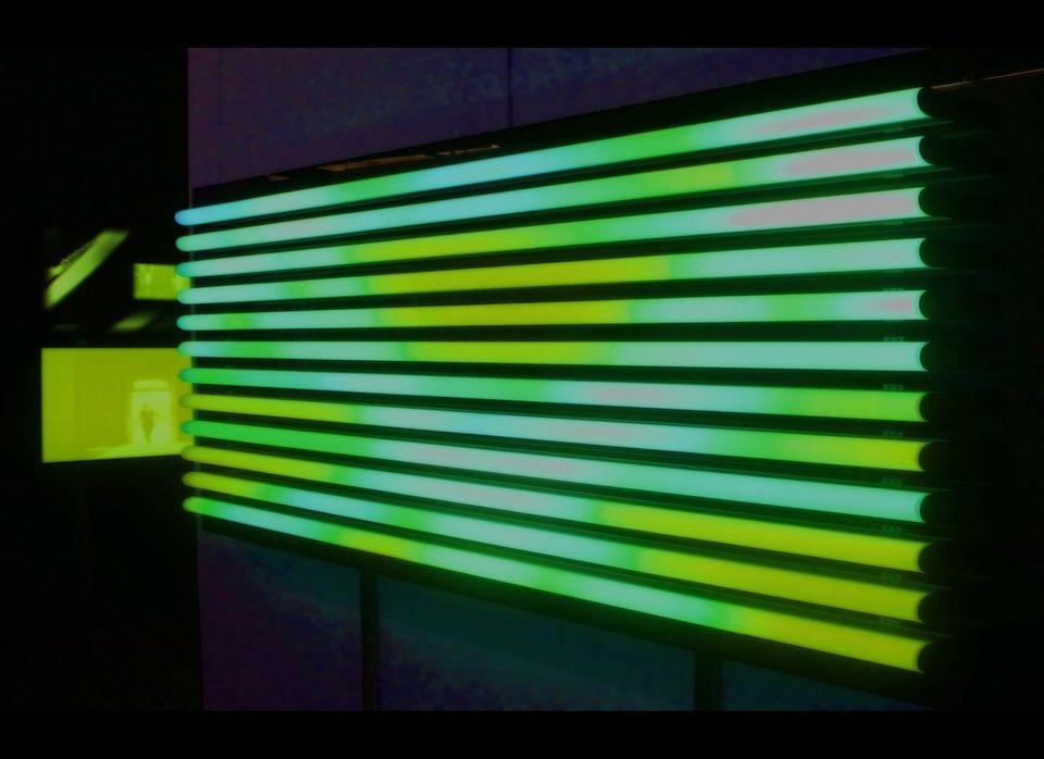 """Light Fiction"" 2008 Video in light tubes and circular light installation of flex neon LED"