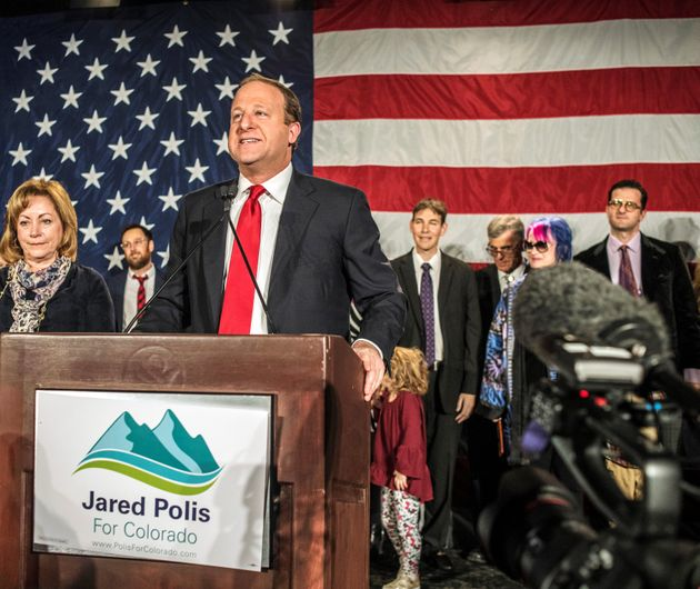 Democratic gubernatorial candidate Jared Polis speaks at his midterm election night party...