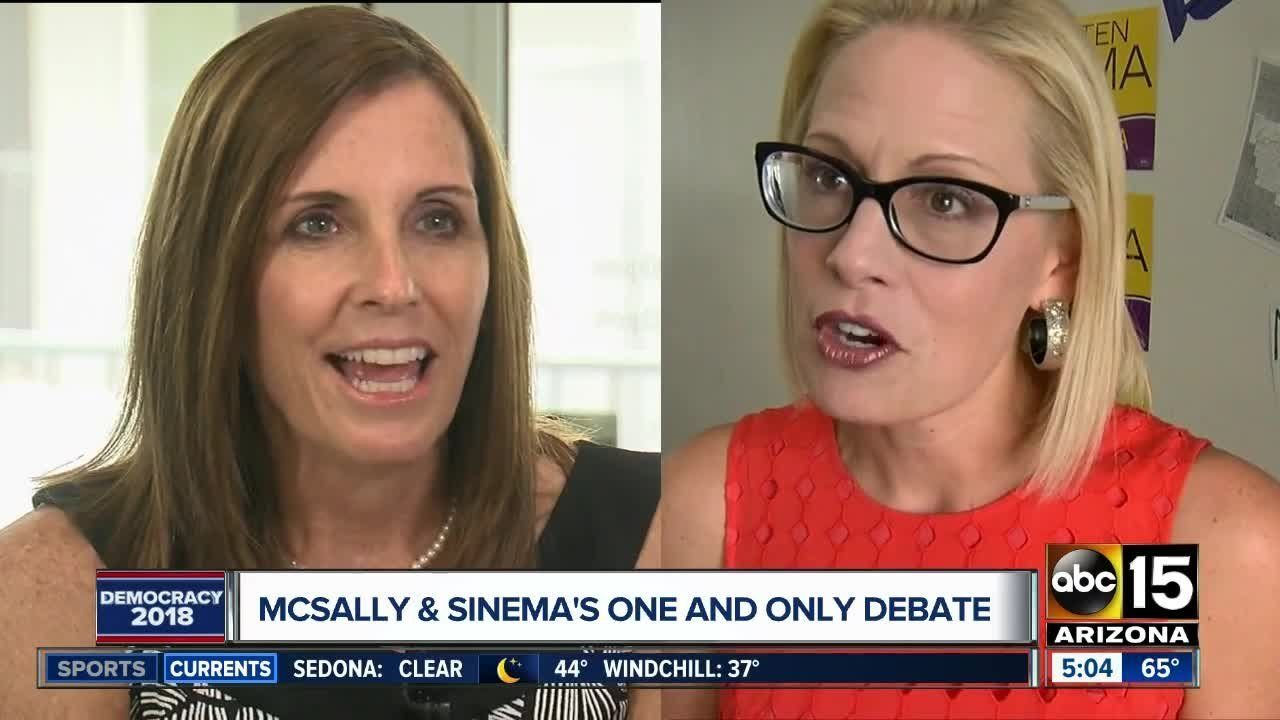 Senate candidates Martha McSally and Kyrsten Sinema are set to debate Monday night.