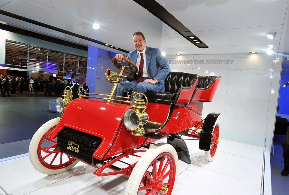 In this photo provided by the Ford Motor Co., William Clay Ford Jr., Executive Chairman, Ford Motor Company, sits in a 1903 F