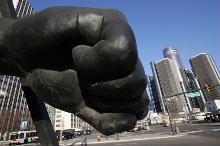 DETROIT - JANUARY 26: The Spirit of Detroit Statue, a scale casting of Joe Louis' fist, welcomes visitors to Detroit as it rests at the intersection of Woodward Avenue and Jefferson Avenue facing Windsor, Ontario, January 26, 2006 in Detroit, Michigan. Detroit will host Super Bowl 40 (XL) on February 5. (Photo by Fabrizio Costantini/Getty Images)