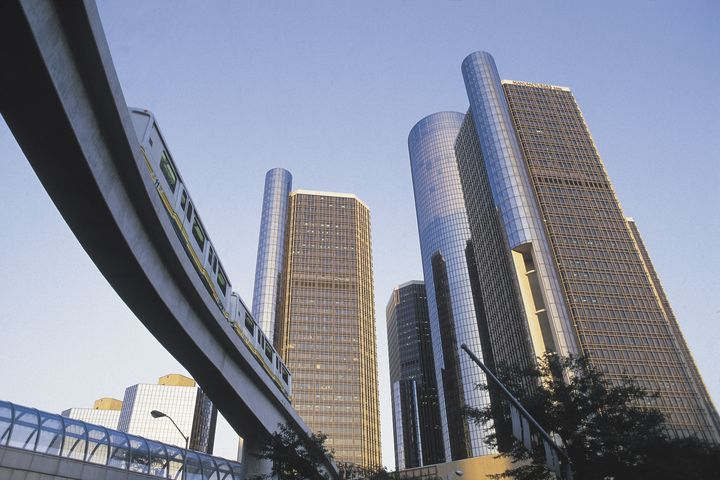 Renaissance Center and monorail , Detroit , Michigan
