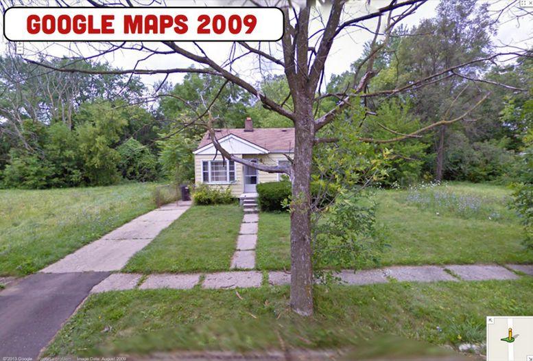 "<a href=""http://goobingdetroit.tumblr.com/"" target=""_blank"">GooBing Detroit</a> uses street images from Google and Bing's map"
