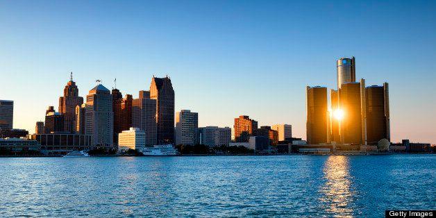 Sunbeam coming through renaissance center buildings in Detroit, MI.
