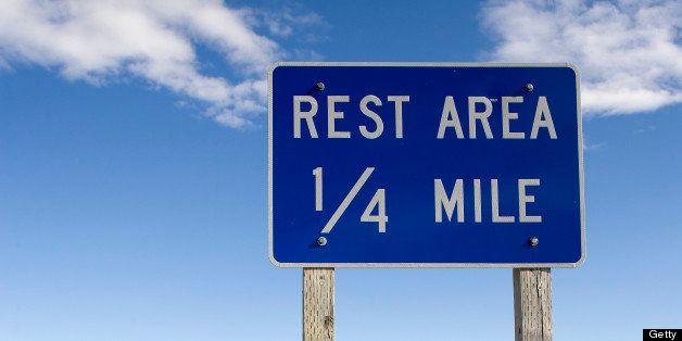 'Rest Area' road signage.