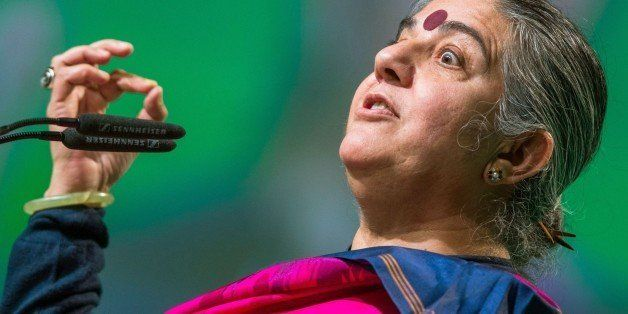 Indian environmental activist Vandana Shiva addresses a party congress of the German Green party in Hamburg, northern Germany