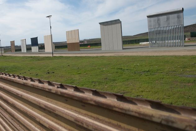 Eight border wall prototypes on display earlier this