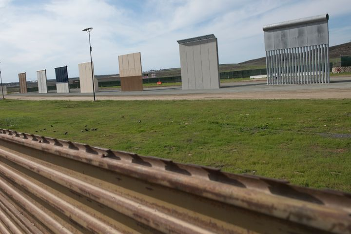 Eight border wall prototypes on display earlier this year.