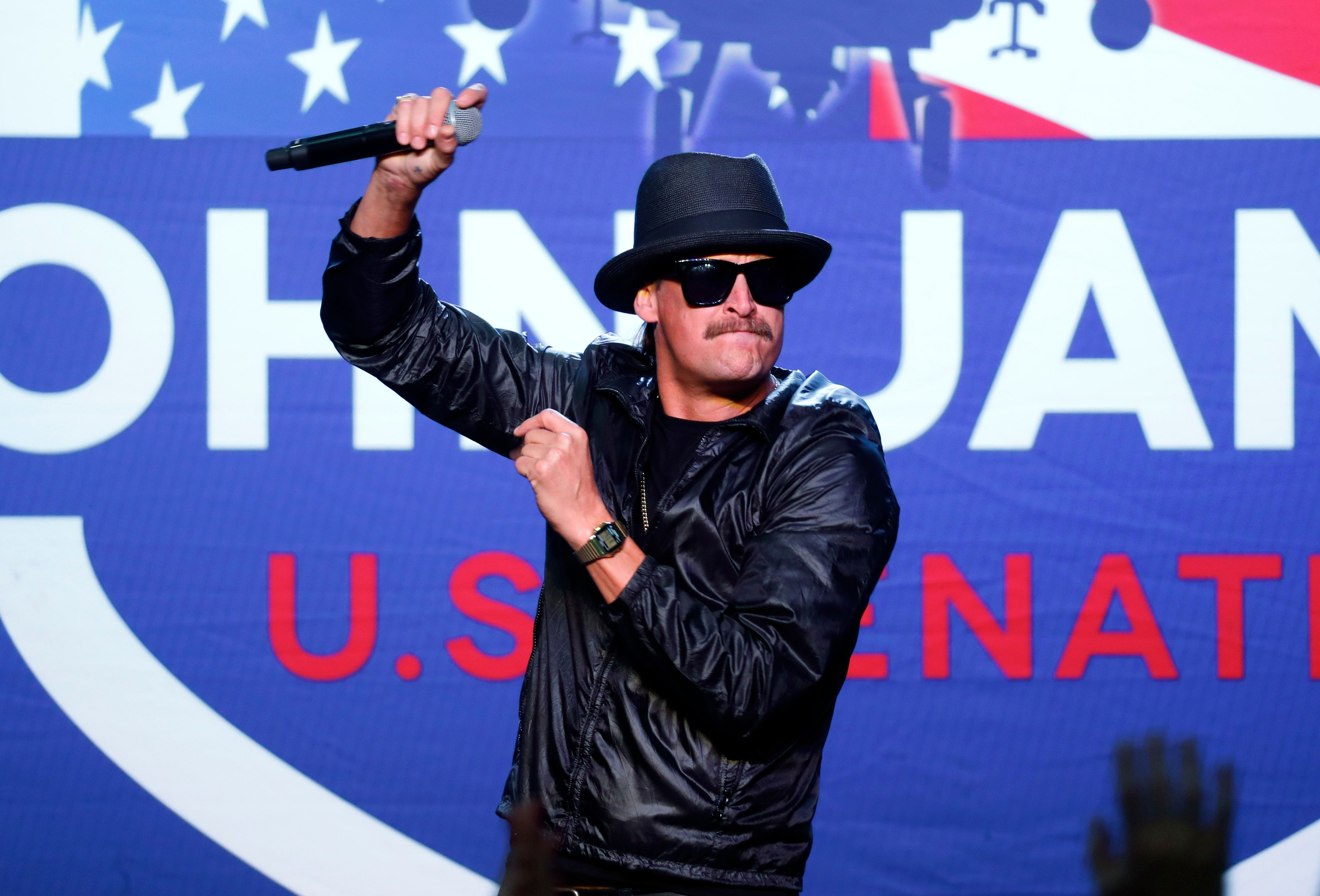 Kid Rock performs during a rally for Republican U.S. Senate candidate John James in Pontiac, Mich., Wednesday, Oct. 17, 2018. (AP Photo/Paul Sancya)