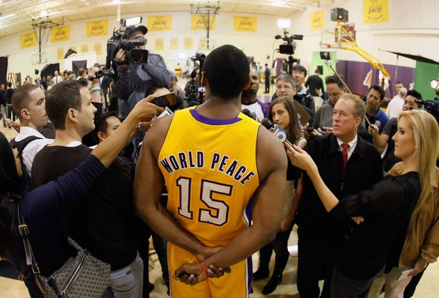 Metta World Peace Jersey Revealed At Lakers Media Day   HuffPost
