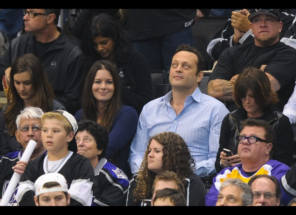 Vince Vaughn (R) and Kyla Weber attend game four of the 2012 Stanley Cup Final between the Los Angeles Kings and the New Jers