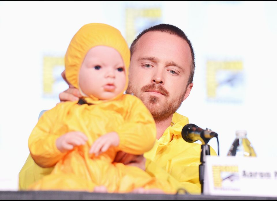 SAN DIEGO, CA - JULY 13:  Actor Aaron Paul speaks at AMC's 'Breaking Bad' Panel during Comic-Con International 2012 at San Di