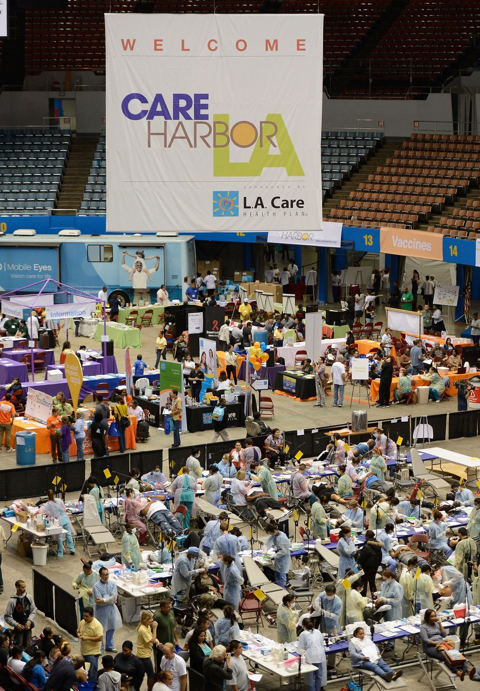 Free dental work is performed as part of the Care Harbor clinic at the Los Angeles Sports Arena on Sept. 27, 2012. Care Harbo