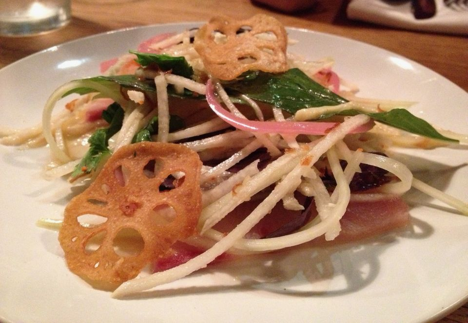 Green papaya, banana leaf, lotus root and hamachi.