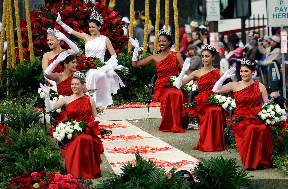 The 2013 Rose Queen and Court are seen in the 124th Rose Parade in Pasadena, Calif., Tuesday, Jan. 1, 2013. Queen Vanessa Man