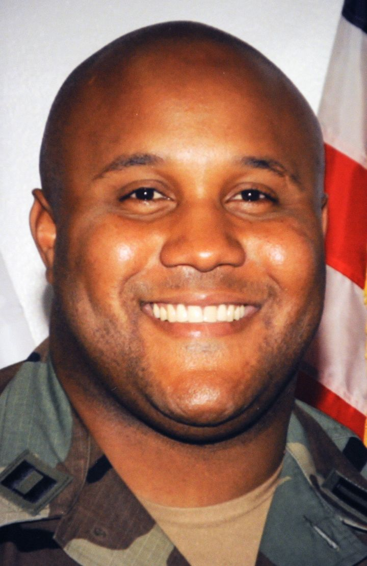 (FILES):  This undated photograph shows fired Los Angeles Police Department (LAPD) officer Christopher Dorner wearing a milit