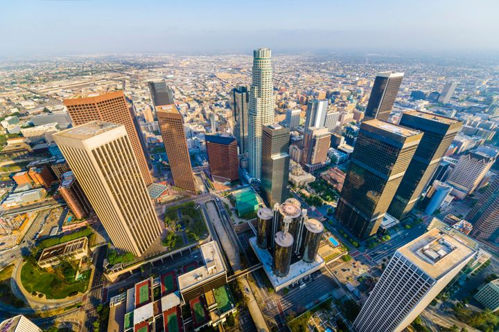 Aerial view of downtown skyscrapers in Los Angeles California