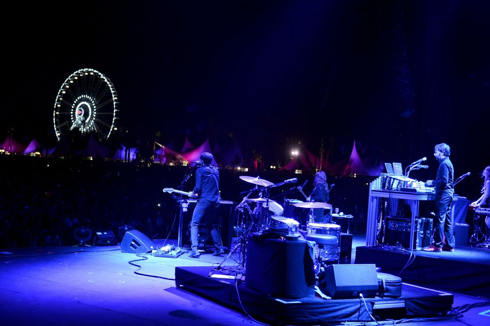 INDIO, CA - APRIL 13:  (L-R) Musicians Ben Gibbard, Jenny Lewis and Jimmy Tamborello of the band The Postal Service perform o