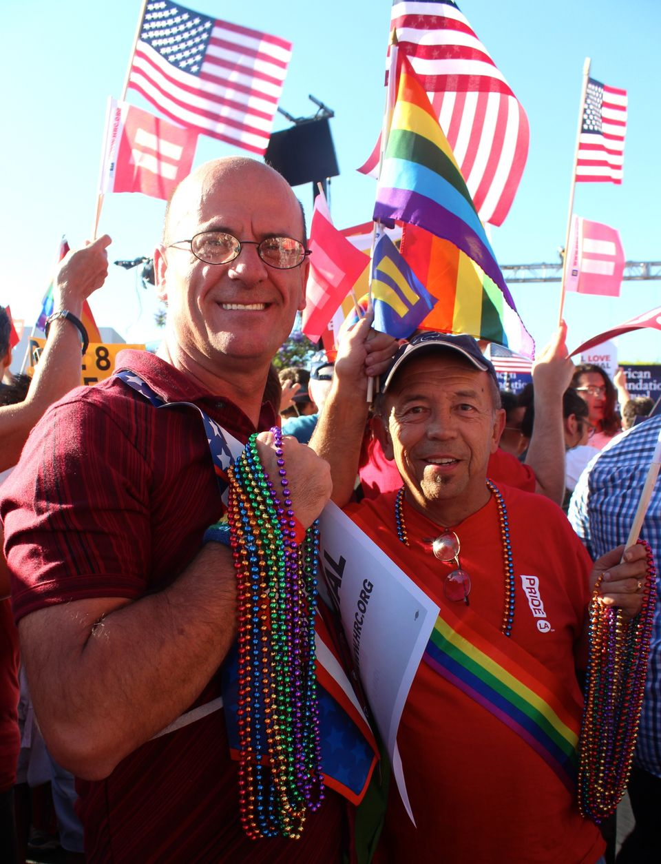 """I'm no longer a second-class citizen,"" said Brad Bigelow, 58 (right). He attended the West Hollywood rally with his friend o"