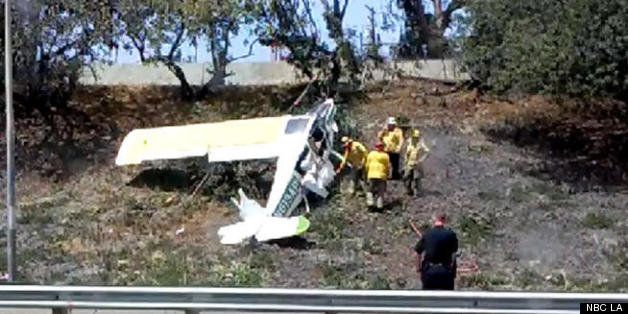 Small Plane Crashes On 405 Freeway Embankment In Long Beach | NBC