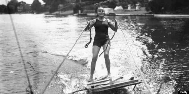 circa 1927:  Miss Gladys Mey riding the surf on a makeshift water-ski.  (Photo by Fox Photos/Getty Images)