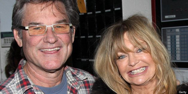 NEW YORK - FEBRUARY 11:  Kurt Russell and Goldie Hawn pose backstage at the hit play 'Race' on Broadway at The Barrymore Thea