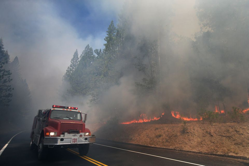 A fire truck drives past burning trees as firefighters continue to battle the Rim Fire near Yosemite National Park, Calif., o