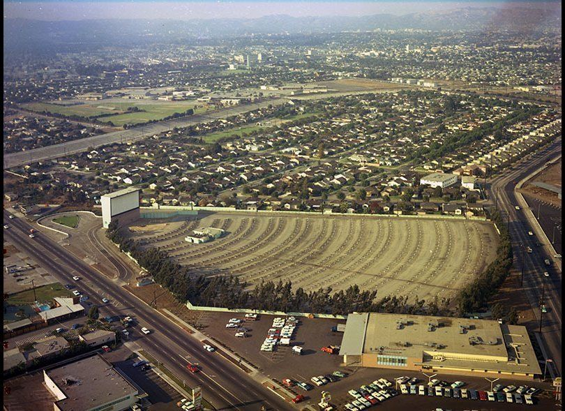 Studio Drive-In Theater, located at 5250 Sepulveda Blvd. in Culver City, 1964. <em>Kelly Holiday Aerial Collection, Los Angel