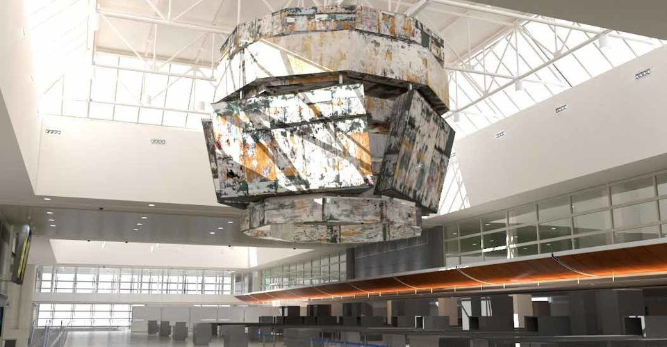 """Local artist Mark Bradford will suspend his """"Bell Tower"""" structure above the security screening area."""