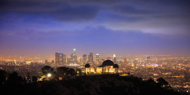 los angels city skyline at...