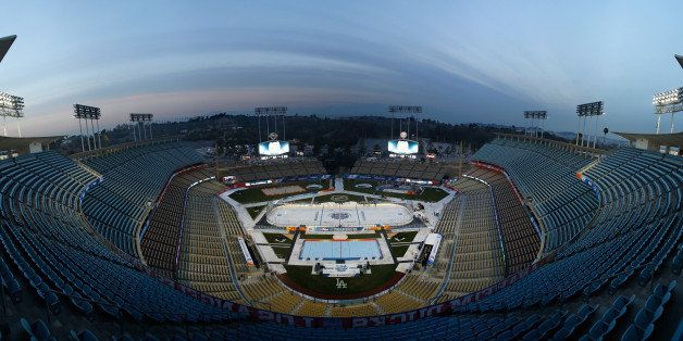 LOS ANGELES, CA - JANUARY 23:  (EDITORS NOTE: Image is a digital [panoramic] composite.) A general view of the ice build out