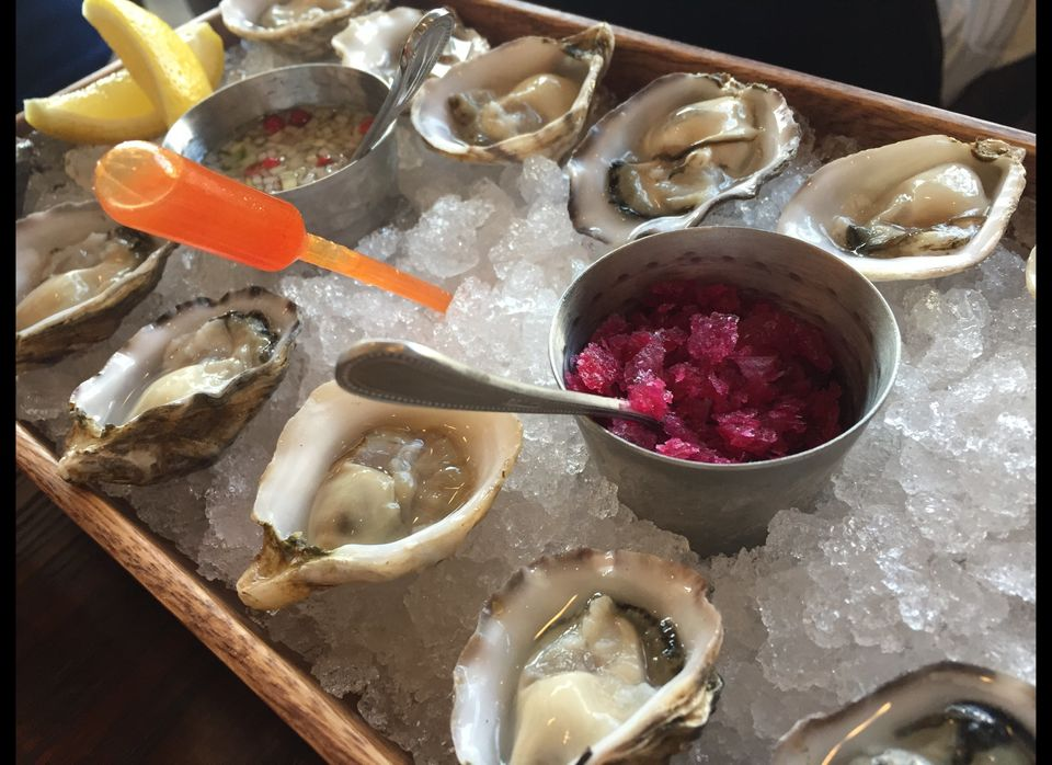 Yes, you've had oysters, or oystas as they call them at Ox and Son. But it's the apple cucumber mignonette, kimchi granite, l