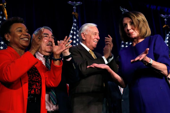 Minority Leader Nancy Pelosi (D-Calif.) celebrated the retaking of the House majority Tuesday night. She appears poised to re