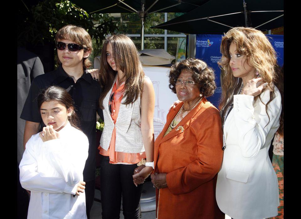 Members of the Jackson family, left to right, Blanket Jackson, Prince Jackson, Paris Jackson, Katherine Jackson and La Toya J