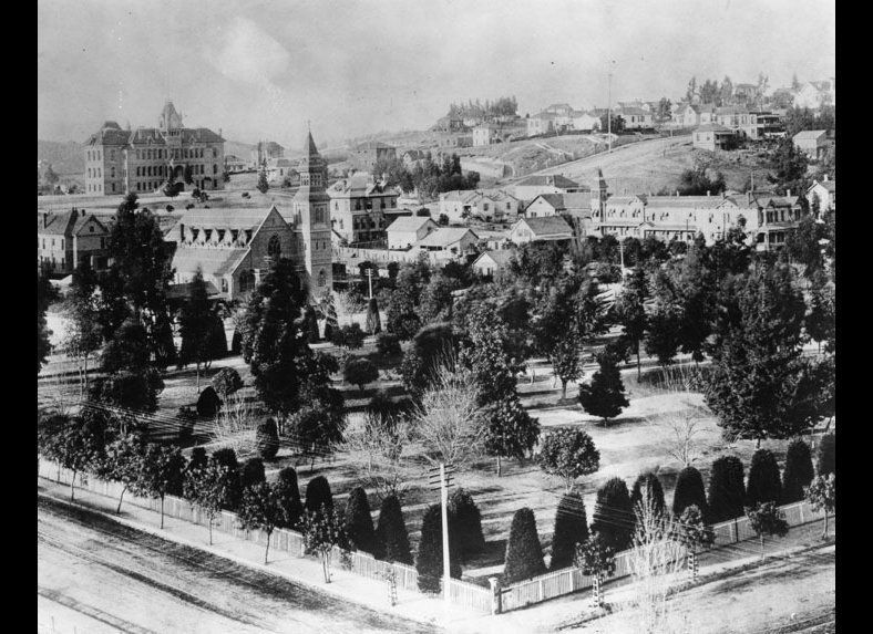 View of what was then known as 6th Street Park, looking northwest toward St. Paul's Episcopal Church on Olive Street and the