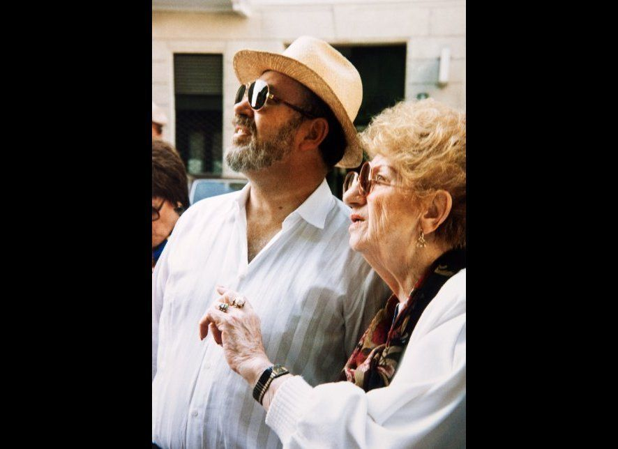 Hall and his mother, Maria, on their trip back to Warsaw in 1993.