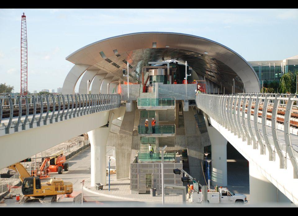 Metrorail's new orange line at the Miami International Airport.